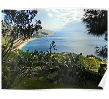 Over looking The Ionian Sea - Taormina, Sicily Poster
