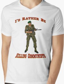 I'd Rather Be Killing Communists, Reagan Style Mens V-Neck T-Shirt