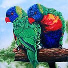 Rainbow Lorikeets by ria gilham