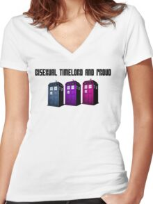 Bisexual Timelord and Proud Women's Fitted V-Neck T-Shirt