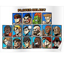 Street Fighter Player Select Poster