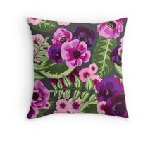 Pink and Purple Floral Expolosion Throw Pillow