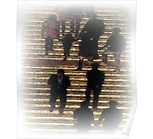 Pastel Folks on Stairs Poster