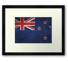 Old and Worn Distressed Vintage Flag of New Zealand Framed Print