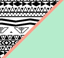 Black White Aztec Pattern Mint Green Color Block by GirlyTrend