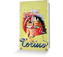 Torino Turin Italy Vintage Travel Poster Restored Greeting Card