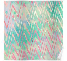 Pink Turquoise Watercolor Zigzag Chevron Pattern Poster