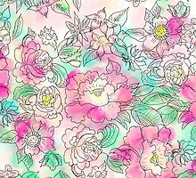 Handdrawn girly pink turquoise floral watercolor by GirlyTrend