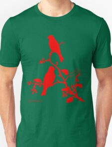 Red Rustic Bunting on a branch T-Shirt