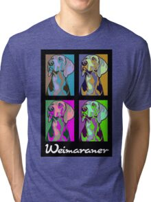 Colourful Weimaraner poster-style Tri-blend T-Shirt