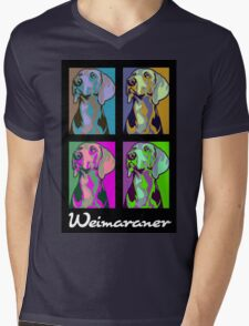 Colourful Weimaraner poster-style Mens V-Neck T-Shirt