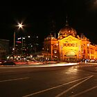 Flinders Street Station by Night, Mebourne by Leigh Penfold