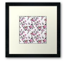 Girly chic pink gray orange floral pattern Framed Print