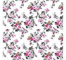 Girly chic pink gray orange floral pattern Photographic Print