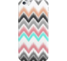 Girly trendy turqouise coral gray ikat pattern iPhone Case/Skin