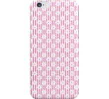 Girly pink white vintage stripes floral pattern iPhone Case/Skin