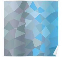 Clair de Lune Grey Abstract Low Polygon Background Poster