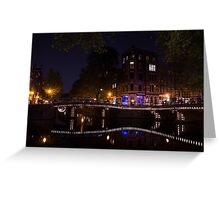 Magical, Sparkling Amsterdam Canals and Bridges at Night Greeting Card