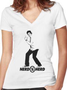 Chuck Bartowski - Buy More - NERD HERD Women's Fitted V-Neck T-Shirt