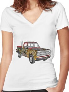 Brass Steampunk Lorry Women's Fitted V-Neck T-Shirt