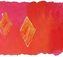 Diamond Pink and Orange Water Inspirations: abstract watercolour painting by Susan Wellington