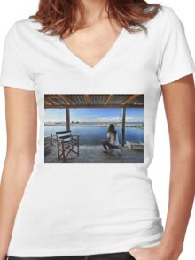 Peaceful life in the lagoon of Messolonghi Women's Fitted V-Neck T-Shirt
