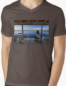 Peaceful life in the lagoon of Messolonghi Mens V-Neck T-Shirt