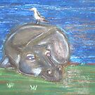 Hippo resting by Rannveig Ovrebo