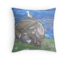 Hippo resting Throw Pillow