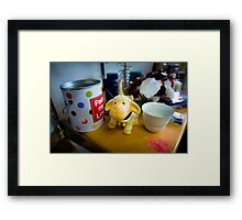 Bertie Finds A Hiding Place Among The Pots Framed Print