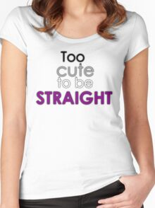 Too cute to be straight - asexual Women's Fitted Scoop T-Shirt