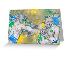 Green Painted Fight Greeting Card