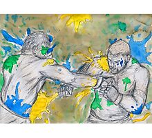 Green Painted Fight Photographic Print