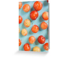 Plums on blue Greeting Card