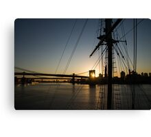 New York City Sunrise - Tall Ships and Brooklyn Bridge  Canvas Print