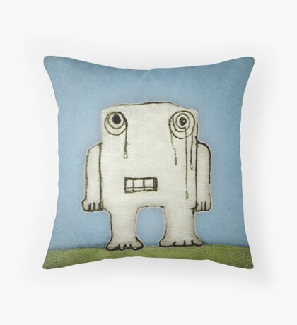 Sad Monster Baby Crying Throw Pillow
