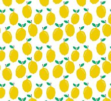 Lemons - Tropical citrus summer fresh modern pattern bright garden vegetables vegan by charlottewinter