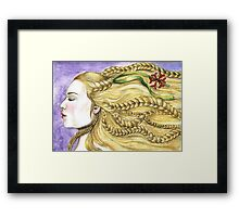 Girl with Braids Framed Print