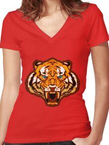 Tiger Tiger Burning Bright Women's Fitted V-Neck T-Shirt