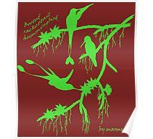 Green booted rackettail hummingbird Poster