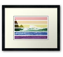 LGTB flag on waves crashing Framed Print