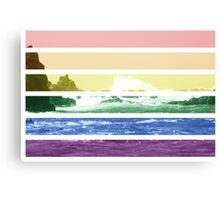 LGTB flag on waves crashing Canvas Print