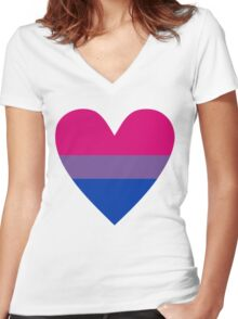 Bisexual heart Women's Fitted V-Neck T-Shirt