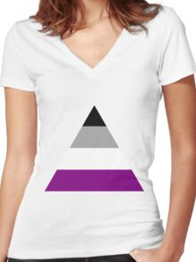 Asexual triangle flag Women's Fitted V-Neck T-Shirt