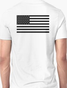 American Flag, STICKER, Stars & Stripes, USA, America, Black on white Unisex T-Shirt