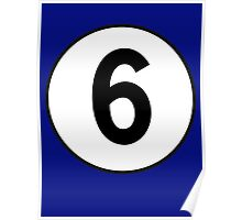 6, Sixth, Number Six, Number 6, Racing, Six, Competition, on Navy Blue Poster
