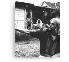 Kurt Cobain w/ a cute cat Canvas Print
