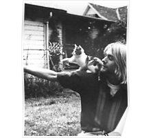Kurt Cobain w/ a cute cat Poster