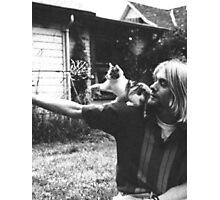 Kurt Cobain w/ a cute cat Photographic Print