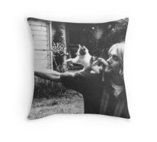 Kurt Cobain w/ a cute cat Throw Pillow